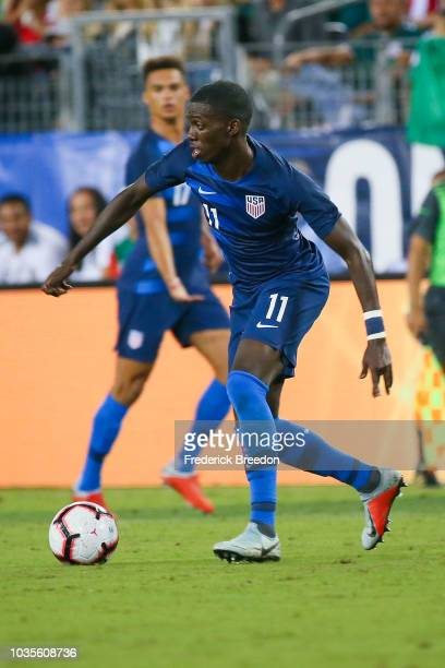 Tim Weah of the USA plays against Mexico in a friendly match at Nissan Stadium on September 11 2018 in Nashville Tennessee