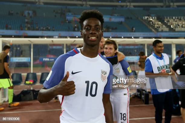Tim Weah of United States of America celebrates at the final whistle during the FIFA U17 World Cup India 2017 Round of 16 match between Paraguay and...