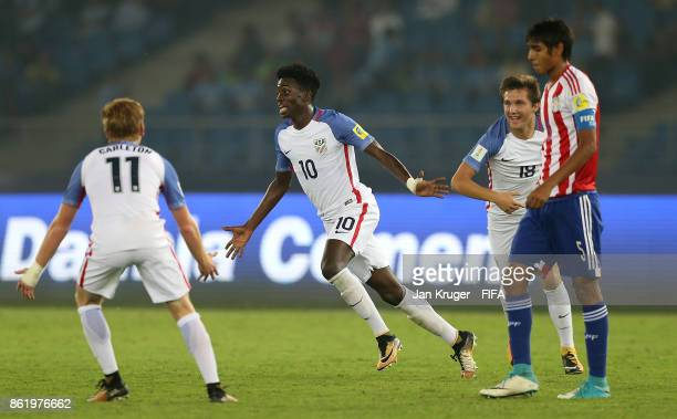 Tim Weah of United States of America celebrates scoring his second goal during the FIFA U17 World Cup India 2017 Round of 16 match between Paraguay...