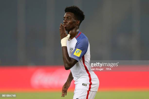 Tim Weah of United States of America celebrates scoring his team 5th goal during the FIFA U17 World Cup India 2017 Round of 16 match between Paraguay...
