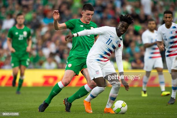 Tim Weah of USA and Declan Rice of Ireland during the International Friendly match between Republic of Ireland and USA at Aviva Stadium in Dublin...