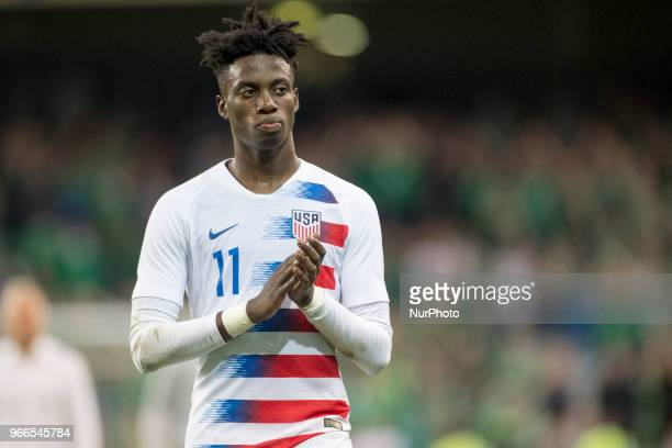 Tim Weah of USA during the International Friendly match between Republic of Ireland and USA at Aviva Stadium in Dublin Ireland on June 2 2018