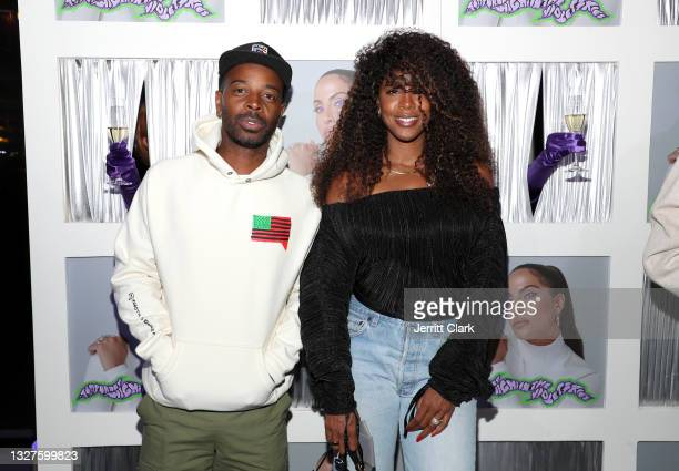 """Tim Weatherspoon and Kelly Rowland attend Snoh Aalegra album release party for """"Temporary Highs In The Violet Skies"""" at Harriet's Rooftop on July 07,..."""