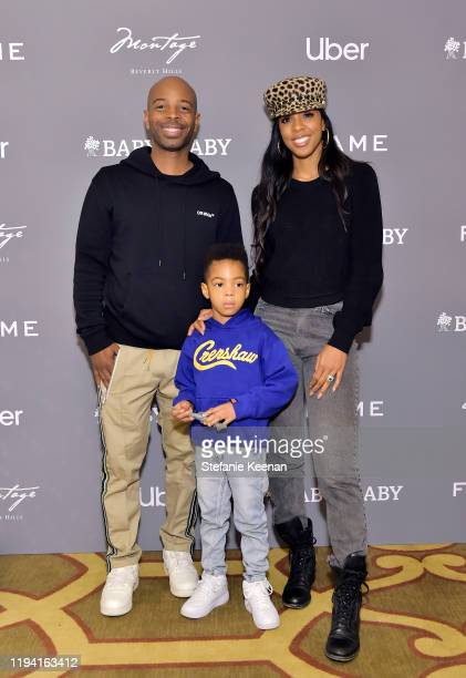 Tim Weatherspoon, Titan Jewell Weatherspoon and Kelly Rowland attend The Baby2Baby Holiday Party Presented By FRAME And Uber at Montage Beverly Hills...