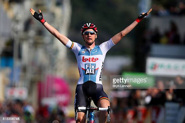 Tim Wellens of Belgium and Lotto Soudal celebrates as he crosses the finish line to win stage 7 of the 2016 Paris-Nice, the final stage of 134km,...