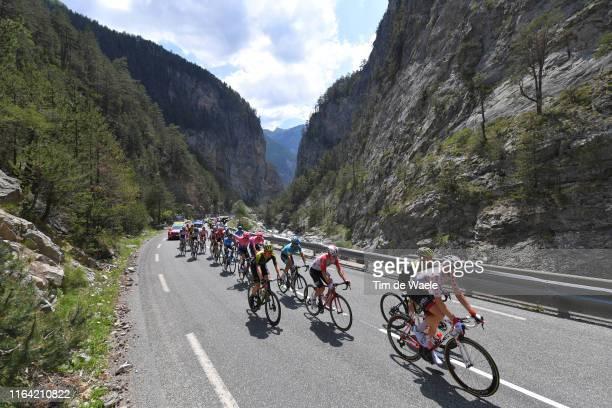 Tim Wellens of Belgium and Team Lotto Soudal Polka Dot Mountain Jersey / Adam Yates of United Kingdom and Team Mitchelton-Scott / Jasper De Buyst of...