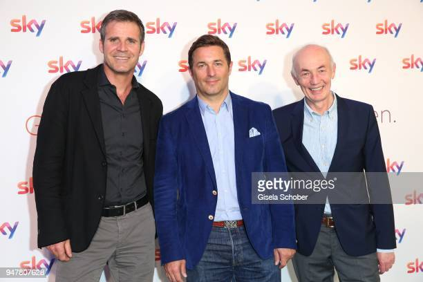 Tim Werner Oliver Vogel Gottfried Zmeck attend the launch event for 'Das neue Sky' on April 17 2018 in Munich Germany