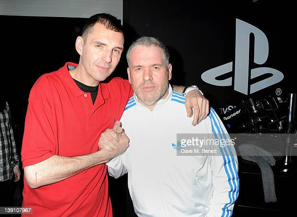 Tim Westwood and Chris Moyles attend the PlayStation Vita Rooms prelaunch event ahead of the console's official February 22 release at the Vita Room...