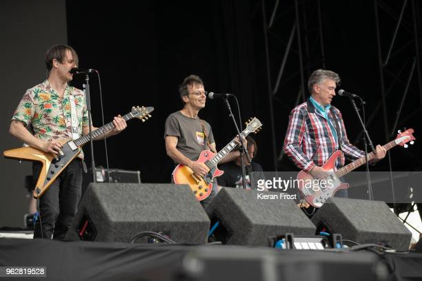 Tim Wheeler of Ash performs with Damian O'Neill and Michael Bradley of the Undertones at the BBC 6Music Biggest Weekend at Titanic Slipways on May 26...