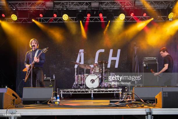 Tim Wheeler, Rick McMurray and Mark Hamilton of Ash perform on the King Tut's Stage on the third day of TRNSMT Festival 2021 on September 12, 2021 in...