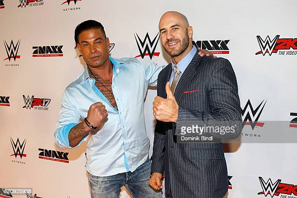 Tim Wiese and Cesaro attend Tim Wiese's first WWE fight at Olympiahalle on November 3 2016 in Munich Germany