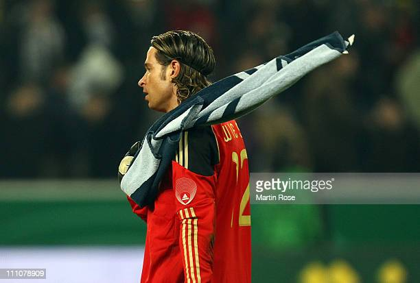Tim Wiese, goalkeeper of Germany looks dejected after the international friendly match between Germany and Australia at Borussia-Park on March 29,...