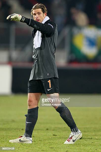 Tim Wiese of Bremen looks dejected after losing 01 the UEFA Europa League knockout round first leg match between FC Twente Enschede and SV Werder...