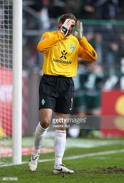 Tim Wiese of Bremen reacts after conceding the third goal scored by Raul Bobadilla of Moenchengladbach during the Bundesliga match between Borussia...