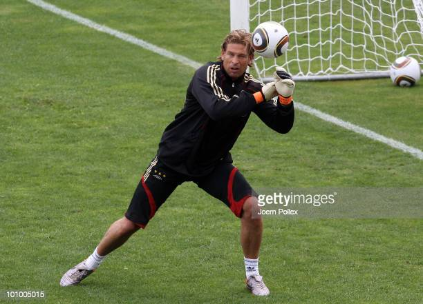 Tim Wiese of Germany is seen in action during a training session at Sportzone Rungg on May 27, 2010 in Appiano sulla Strada del Vino, Italy.