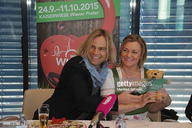 Tim Wilhelm of Muenchener Freiheit and Claudia Wiesner attend the Vienna Wiesn 2015 press conference on April 16 2015 in Vienna Austria