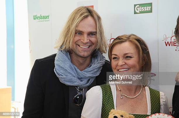 Tim Wilhelm of Muenchener Freiheit and Claudia Wiesner attend the Vienna Wiesn 2015 press conference on April 16, 2015 in Vienna, Austria.