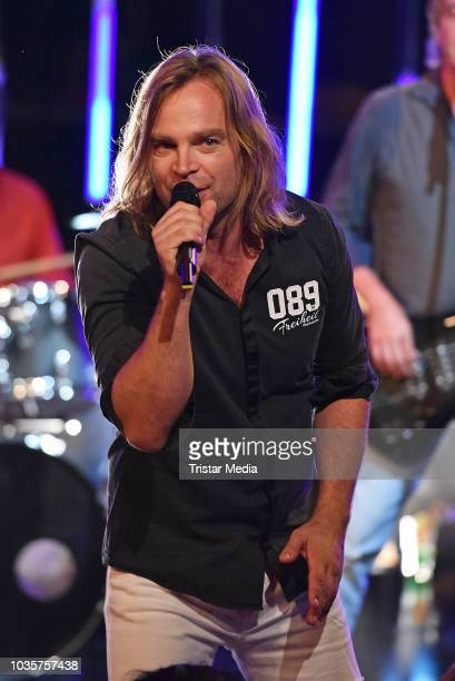 Tim Wilhelm of the band Muenchener Freiheit performs the TV recording of 'Die 80er - Die grosse Musiknacht des rbb' on September 18, 2018 in Berlin,...