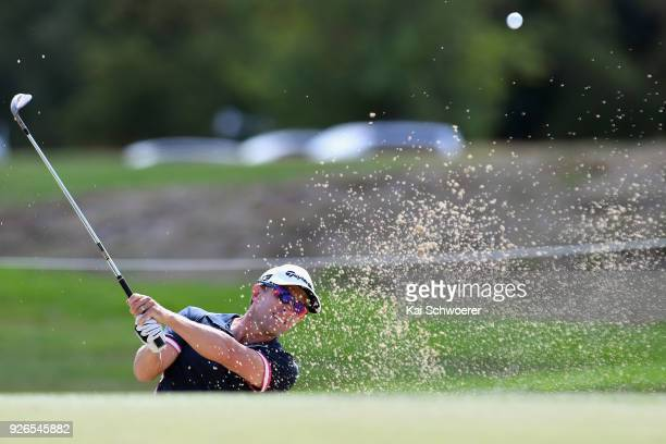Tim Wilkinson of New Zealand plays a bunker shot during day three of the ISPS Handa New Zealand Golf Open at Millbrook Golf Resort on March 3 2018 in...