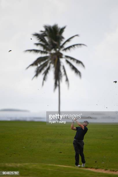 Tim Wilkinson plays a shot on the 14th hole during the first round of the Webcom Tour's The Bahamas Great Exuma Classic at Sandals Emerald Bay...