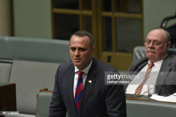 Tim Wilson speaks beore the final vote to legalise marriage equality in Australia at Parliament House on December 7 2017 in Canberra Australia...