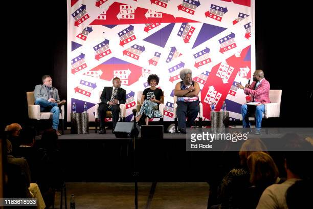 Tim Wise Elwood Watson Zerlina Maxwell Elie Mystal and Dr Jason Johnson speak onstage during the 2019 Politicon at Music City Center on October 26...