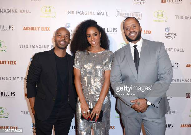 Tim Witherspoon Kelly Rowland and Kenny Hamilton attend The Imagine Ball Honoring Serena Williams Benefitting Imagine LA Presented By John Terzian...