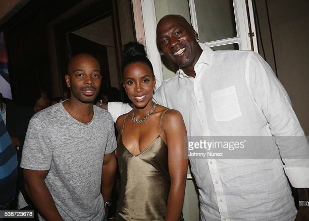 Tim Witherspoon Kelly Rowland and Michael Jordan attend An Intimate Evening With Michael Jordan And Neymar Jr on June 1 2016 in New York City