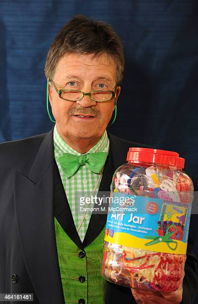 Tim Wonnacott Celebrity Art Expert Star Of BBC's 'Bargain Hunt' unveils Galt Toys 5ft By 5ft Mosaic Masterpiece at Toy Fair Olympia Exhibition Centre...