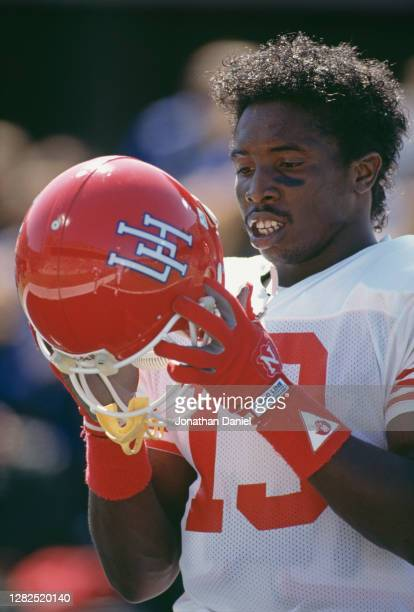 Tim Woods, Wide Receiver for the University of Houston Cougars during the NCAA Big Ten Conference college football game against the University of...