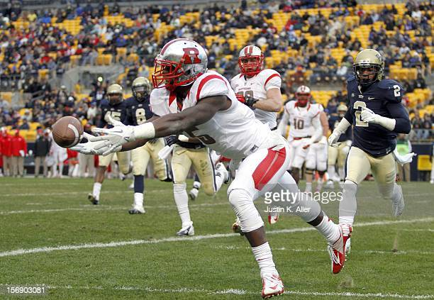 Tim Wright of the Rutgers Scarlet Knights can't make a catch in the end zone against the Pittsburgh Panthers during the game on November 24 2012 at...