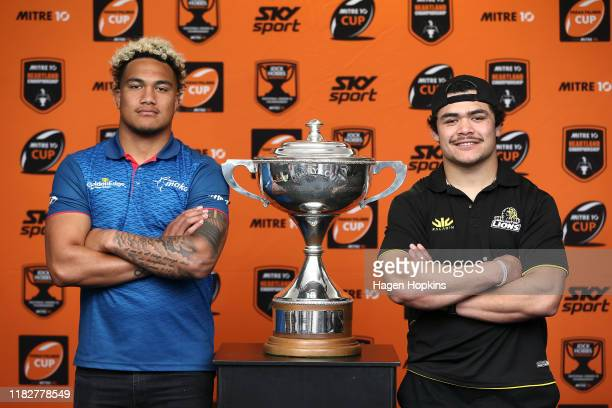 Tima Faingaanuku of Tasman and Du'Plessis Kirifi of Wellington pose with the Premiership Division National Provincial Cup during the Mitre 10 Cup...
