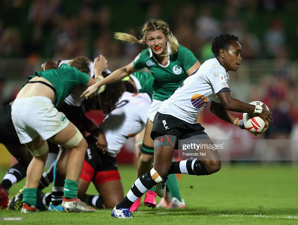 Tima Ravisa of Fiji runs with the ball during day one of the Emirates Dubai Rugby Sevens - HSBC World Rugby Women's Sevens Series on December 1, 2016 in Dubai, United Arab Emirates.