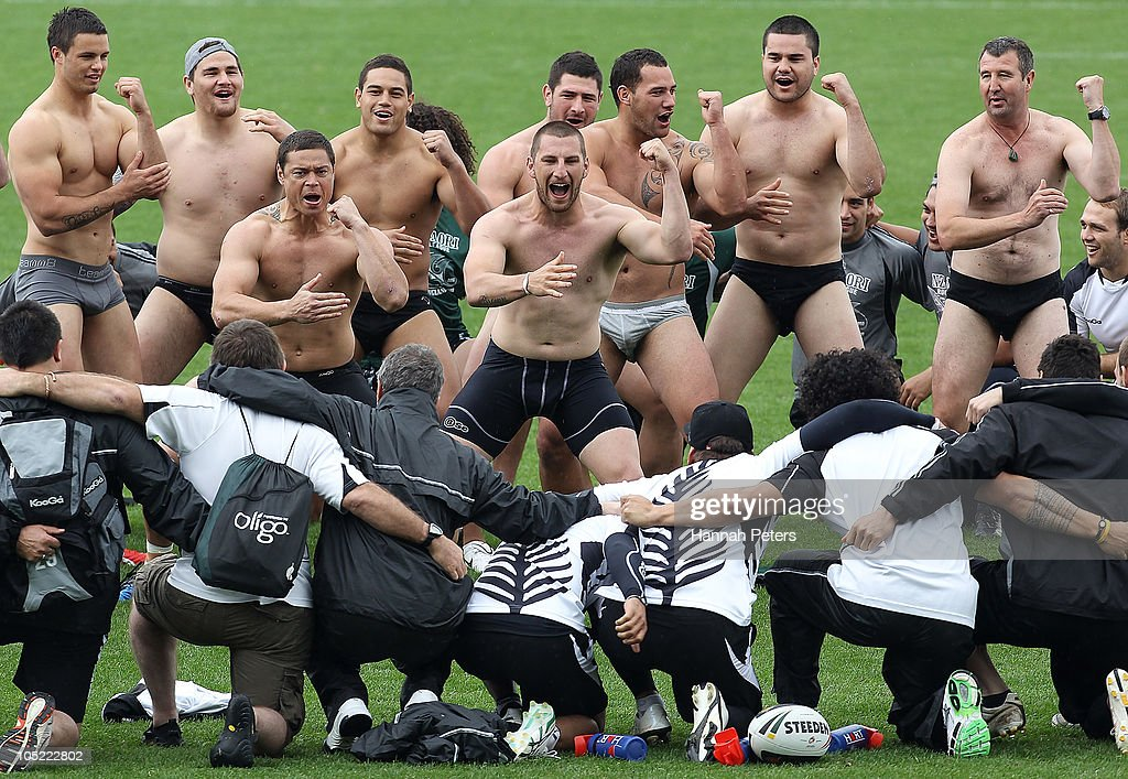 Timana Tahu and Lewis Brown lead a haka performed by the New Zealand Maori team for the Kiwis during a New Zealand Kiwis Four Nations training session at North Harbour Stadium on October 13, 2010 in Auckland, New Zealand.
