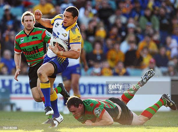 Timana Tahu of the Eels makes a break during the round 18 NRL match between the Parramatta Eels and the South Sydney Rabbitohs at Parramatta Stadium...