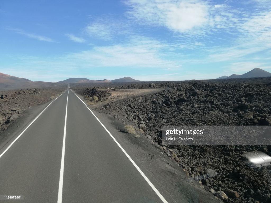 Timanfaya's road : Foto de stock