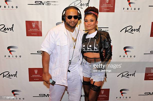 Timbaland and AgnezMo attend the Revd Launch Event at Palace Hotel on June 29 2013 in San Francisco California