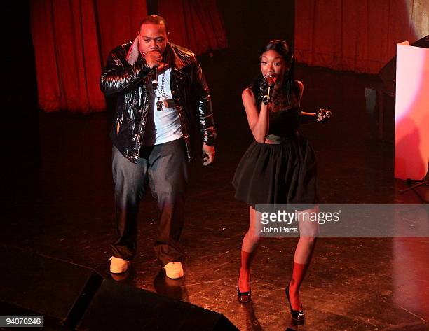 Timbaland and Brandy perform at Timbalands album Shock Value II at LIV nightclub at Fontainebleau Miami on December 5 2009 in Miami Beach Florida