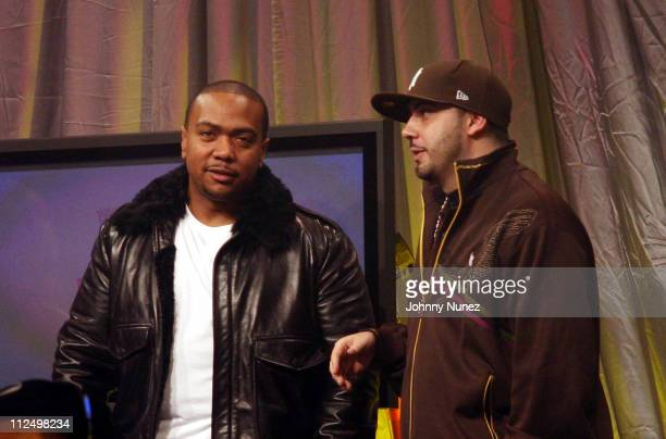 Timbaland and DJ Green Lantern during Jay Z Performs on 106 Park with Nas Pharrell and Timbaland November 8 2006 at BET Studios in New York City New...