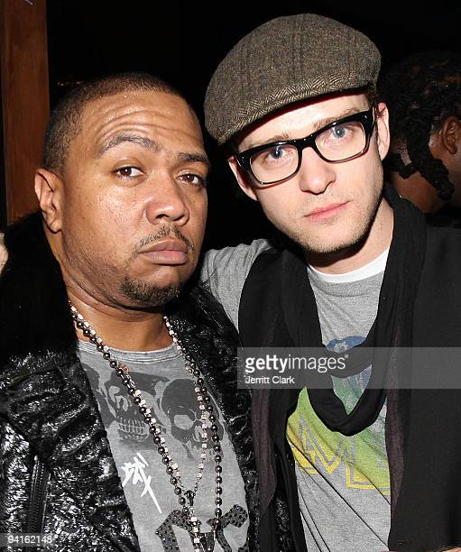 Timbaland and Justin Timberlake attend Timbaland's 'Shock Value II' album release party at Hudson Terrace on December 8 2009 in New York City