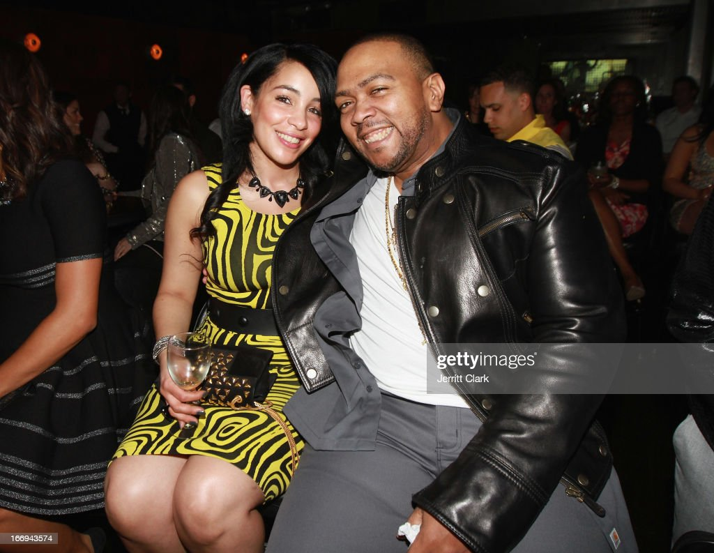 Timbaland and wife Monique Idlett attend the 'Amar'e Stoudemire: In The Moment' New York Premiere at Marquee on April 18, 2013 in New York City.
