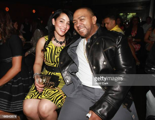 Timbaland and wife Monique Idlett attend the Amar'e Stoudemire In The Moment New York Premiere at Marquee on April 18 2013 in New York City