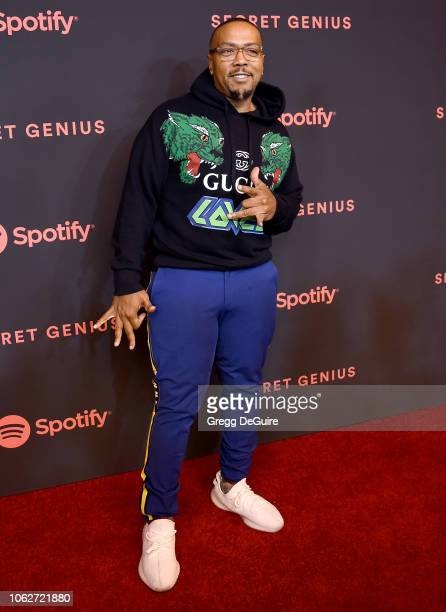 Timbaland arrives at Spotify's 2nd Annual Secret Genius Awards at The Theatre at Ace Hotel on November 16 2018 in Los Angeles California