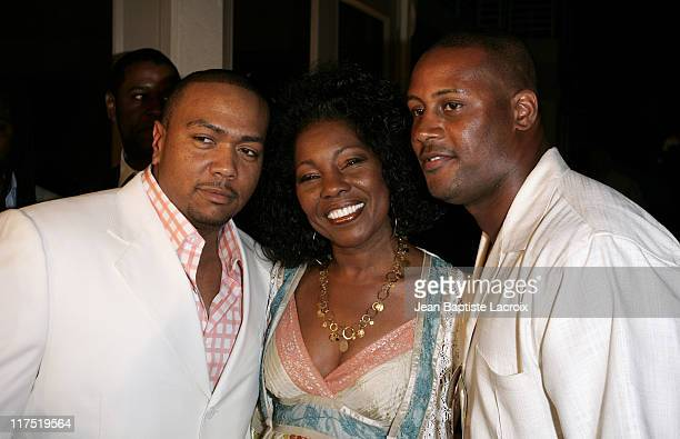 Timbaland, Cecil Hayes and Ty Law during 9 Steps to Beautiful Living - Launch Party - Hosted by Timbaland at Timbaland's Home in Miami, Florida,...