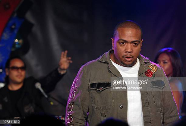 Timbaland during Nelly Furtado Timbaland Dwyane Wade Adam Sandler and Kate Beckinsale Visit MTV's TRL at MTV Studios in New York City New York United...