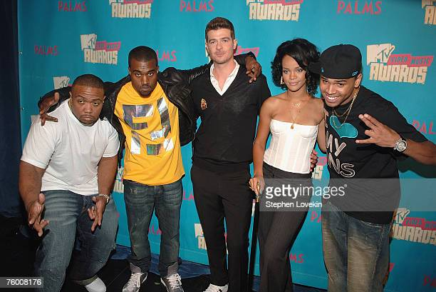 Timbaland Kanye West Robin Thicke Rihanna and Chris Brown during MTV's TRL announcing the nominations for the 2007 MTV Video Music Awards at MTV...