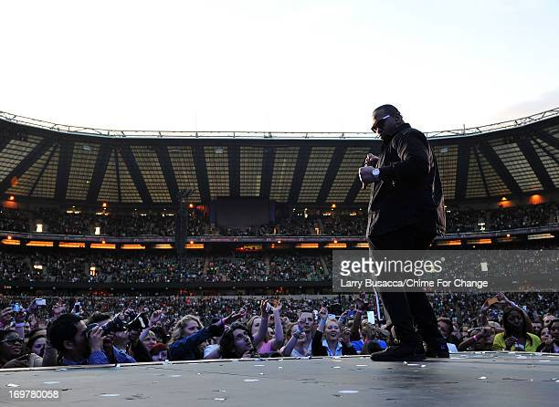 Timbaland performs on stage at the 'Chime For Change The Sound Of Change Live' Concert at Twickenham Stadium on June 1 2013 in London England Chime...
