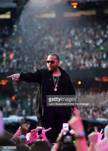 Timbaland performs on stage at the Chime For Change The Sound Of Change Live Concert at Twickenham Stadium on June 1 2013 in London England Chime For...
