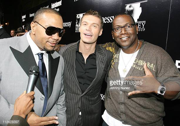 Timbaland Ryan Seacrest and Randy Jackson during Entertainment Weekly Mosely Music Group and Hennessy Present A Toast To Timbaland at BOULEVARD3 in...