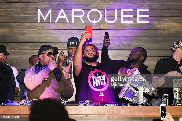 Timbaland Swizz Beatz and DJ Khaled attend the Marquee Takeover at Verso Big Game Weekend presented by Hennessy VS Day 4 on February 7 2016 in San...